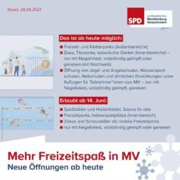 Lockerungen Freizeit 28 05 2021