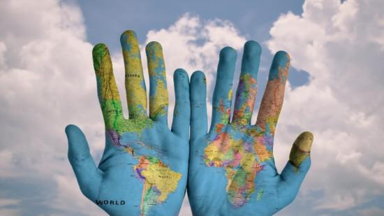 Welt Hände